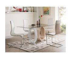 Set tavolo + 4 sedie Quercia e Bianco - AYANE