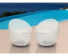 Lotto 2 sedie da giardino CAZAS resina intrecciata bianca