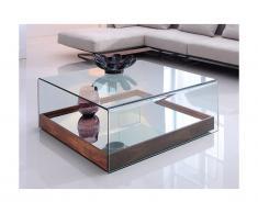 Tavolino quadrato in Vetro temperato e MDF Noce - ADELIA