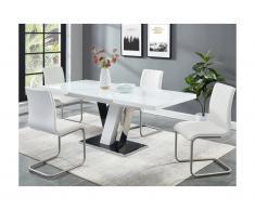 Set Tavolo + 4 sedie Nero e Bianco - WESTON