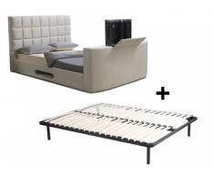Letto PROFUSION con sistema TV integrato - Telaio con doghe 160 x 200 cm - Similpelle bianca