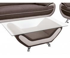 Tavolino in tessuto e vetro temperato NIGEL - Marrone e beige