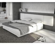 Letto LORIK - 180 x 200 cm - Similpelle bianca