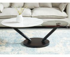 Tavolino con piano girevole Vetro temperato e Ceramica Effetto marmo bianco - YARA