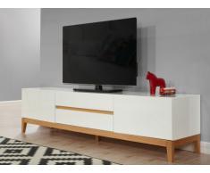 Mobile TV SEDNA - 2 porte e 2 cassetti - Legno massello di quercia e MDF laccato bianco