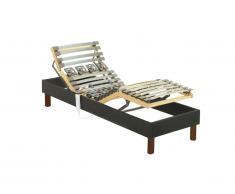 Rete relax con doghe e sospensioni in tessuto grigio antracite di DREAMEA - 80 x 200 cm