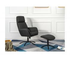 Poltrona reclinabile con poggiapiedi in Lino Antracite - ARBORI