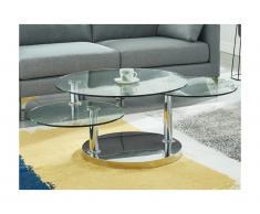 Tavolino con piano girevole Vetro temperato e acciaio - WESLEY