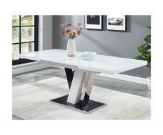 Tavolo da pranzo allungabile WESTON - MDF e Vetro - Nero e Bianco