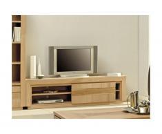 Mobile TV con 1 porta scorrevole e 2 ripiani in Legno di quercia oliato - SYMPHONIE