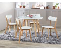 Pacchetto sala da pranzo: Set tavolo + 4 sedie COLETTE - Bianco e naturale