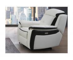 Poltrona relax elettrica in pelle Bianco e antracite - ANGELIQUE