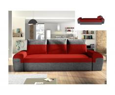 Divano letto 3 posti GABY in tessuto - Bicolore rosso e antracite