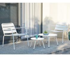 Salotto da giardino in metallo: 2 poltrone basse impilabili e tavoli a scomparsa Bianco - MIRMANDE