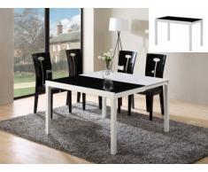 Tavolo allungabile CORINE - Da 4 a 8 coperti - MDF e vetro temperato - Nero e bianco