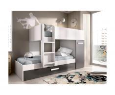 Letto a castello con cassetto letto a scomparsa e contenitori 3 x 90 x 190 cm Antracite e Bianco - ANTHONY
