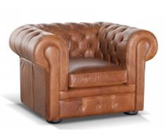 Poltrona Chesterfield 100% cuoio LONDRES - Cuoio vintage caramel