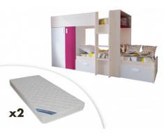 Letto a castello JULIEN - 2x90x190 cm - Armadio integrato - Abete bianco e Fucsia + 2 materassi ZEUS 90x190