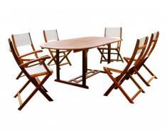 Sala da pranzo da giardino CEBU in acacia: un tavolo allungabile, 2 poltrone e 4 sedie