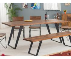 Tavolo da pranzo FIONA - 8 coperti - Acacia e metallo