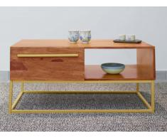Tavolino con 1 nicchia e 1 cassetto in Legno di Sheesham - OREGAN