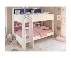 Letto a castello con ripiani e fondo reversibile blu o rosa 2x90x200 cm - LENNY