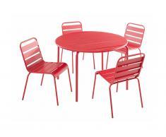 Sala da pranzo da giardino MIRMANDE in metallo - un tavolo D.110 cm e 4 sedie impilabili - Rosso