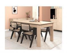 Tavolo da pranzo allungabile da 6 a 8 coperti Rovere e Nero - RISLANE