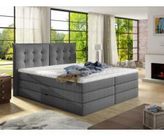 Set letto boxspring con testata + base del letto con contenitore + materasso + topper PLAISIR di PALACIO - tessuto grigio - 180 x 200 cm