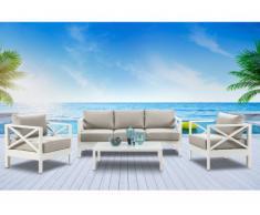 Salotto da giardino SERAM in alluminio bianco e cuscini taupe: un divano, 2 poltrone e un tavolio