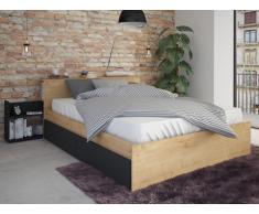 Letto matrimoniale alla francese con cassetti e comodini integrati 140 x 190 cm Colore: Quercia e antracite - FRANK