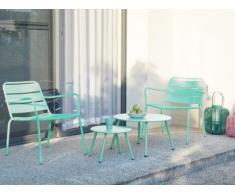 Salotto da giardino in metallo: 2 poltrone basse impilabili e tavoli a scomparsa Verde acqua - MIRMANDE