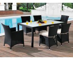 Sala da pranzo da giardino ALANDA in resina intrecciata antracite/panna: tavolo, 2 poltrone, 4 sedie