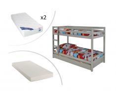 Letto a castello 2 x 90 x 200 cm con cassetto letto estraibile 90 x 190 cm in Abete massello Grigio - ANICET + materasso incluso