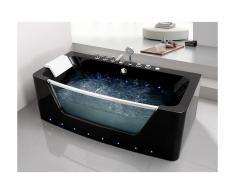 Vasca idromassaggio con vetri a LED DYONA - 1 posto - 260L - 85x170x58cm - Nera