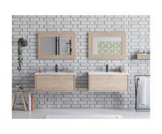 Mobili sospesi per bagno con doppio lavabo e specchi Rovere - ALANA