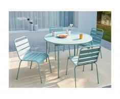 Sala da pranzo da giardino MIRMANDE in metallo - un tavolo D.110 cm e 4 sedie impilabili - Verde mandorla