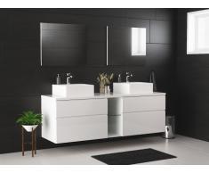 Mobili bagno sospesi con doppio lavabo e specchi bianco - MAGDALENA