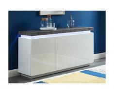 Credenza - 3 ante - Con LED - MDF laccato - Bianco e calcestruzzo - HALO