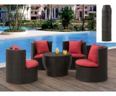 Salotto tavolo + 4 poltrone SAO PAULO antracite/rosso