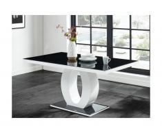 Tavolo da pranzo TWIST - 6 coperti - MDF laccato e Vetro temperato - Nero e Bianco