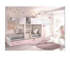 Letto a castello Armadio integrato 2 x 90 x 190 cm Bianco, Rovere e Rosa - JUANITO