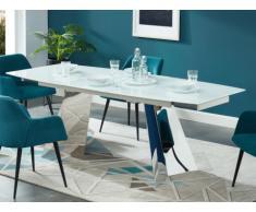 Tavolo da pranzo allungabile da 6 a 8 coperti Vetro temperato e acciaio Bianco - DARCI