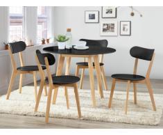 Pacchetto sala da pranzo: Set tavolo + 4 sedie COLETTE - Nero e naturale