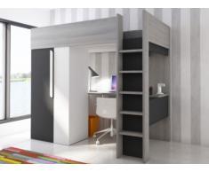 Letto a soppalco con armadio e scrivania 90 x 200 cm Antracite e Bianco - NICOLAS