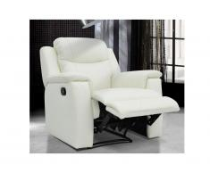 Poltrona relax in cuoio Bianco e avorio - EVASION