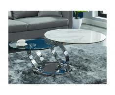 Tavolino con piano girevole Ceramica e vetro temperato Effetto marmo Bianco - JOLINE