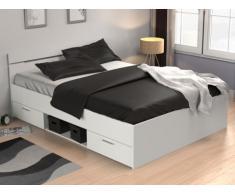 Letto GASPARD con cassetti - 140x190 cm - Bianco