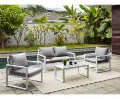 Salotto da giardino KIRIBATI in alluminio e corde: un divano 2 posti, 2 poltrone e un tavolino