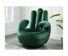 Poltrona a forma di mano girevole in velluto Verde scuro - CATCHY